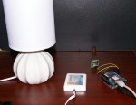Lamp with globe, wireless bridge and Arduino setup